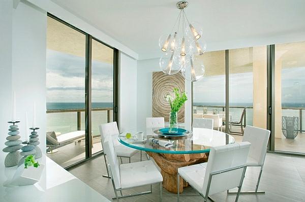 gepolstert  glas tischplatte stühle weiß Pendelleuchten fürs Esszimmer