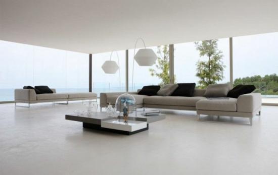 glaswand fenster blick natur modernes wohnzimmer designer möbel sofa ...