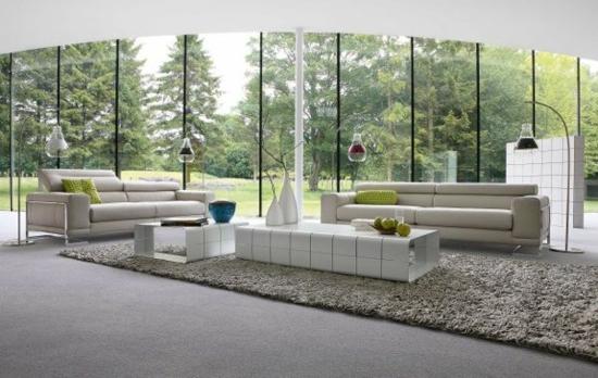 Glaswand Fenster Blick Natur Modernes Wohnzimmer Gestalten