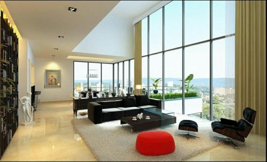 glaswand herrlicher blick modernes wohnzimmer natürliches licht