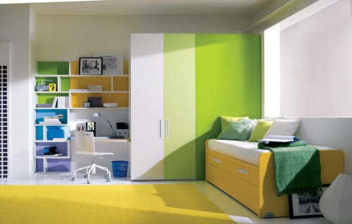 grün gelb  jugendzimmer bett schreibtisch farbkombination