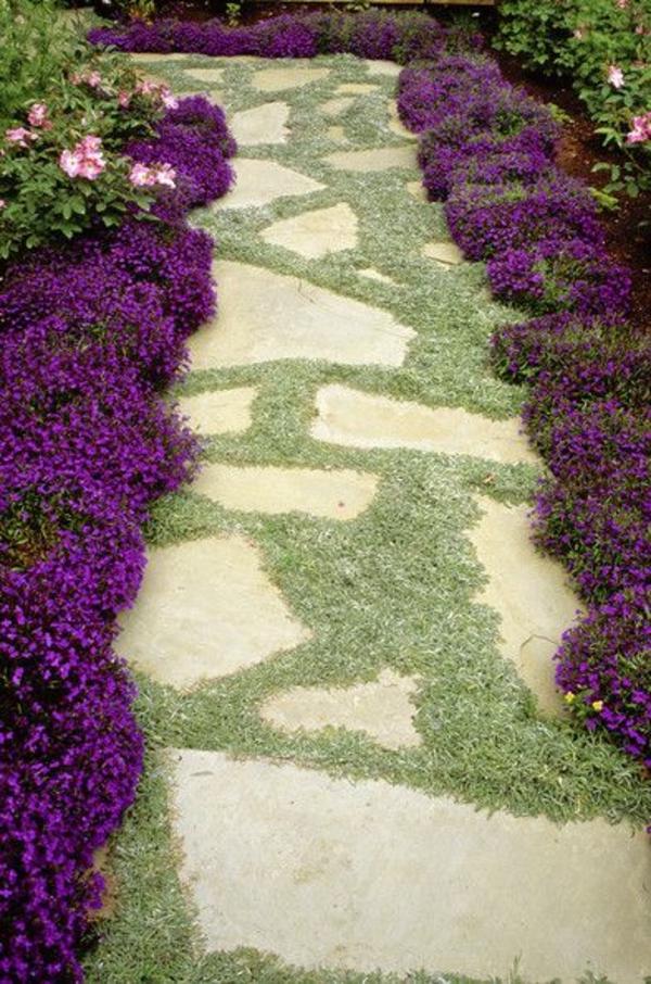 grün lila garten gestalten