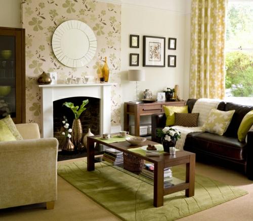 akzent wand wohnzimmer grün muster teppich kamin tapeten