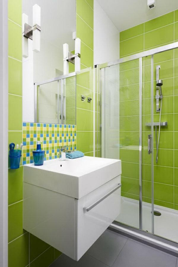 grüne badezimmer fliesen ideen waschbecken unterschrank modern