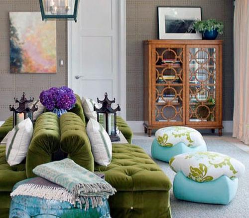 gepolstert wohnzimmergrüne couch sitzkissen hocker