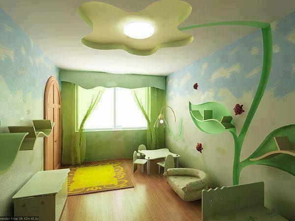 grne dekoideen fr kinderzimmer gelber teppich tisch - Babyzimmer Orange Grn