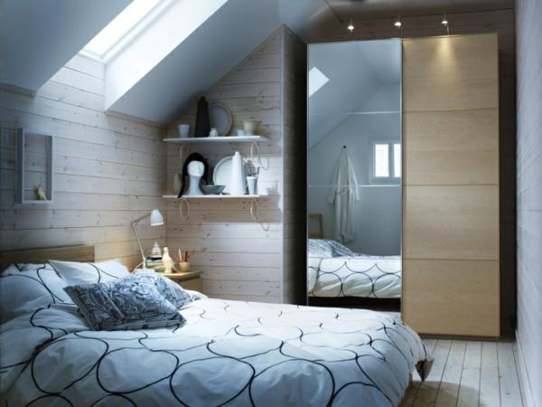grüne garderobe pax kleiderschrank türen spiegel schlafzimmer