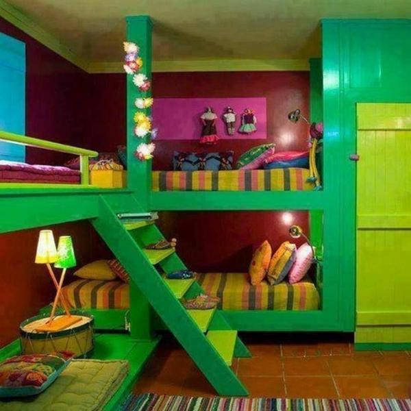 grüne möbel etagenbett tischlampe
