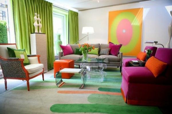 grüne motive relax wohnzimmer