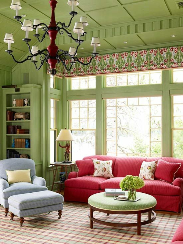 grünes wohnzimmer ideen:Red and Green Living Room