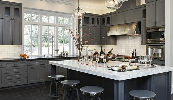 küchenmöbel modern grau farben kücheneinrichtung