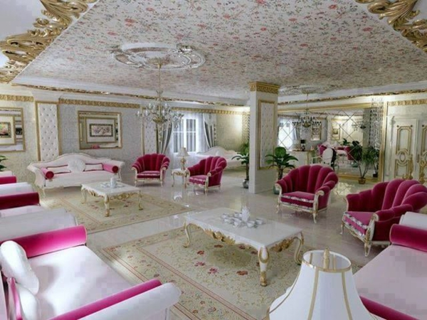 großartiges wohnzimmer  klassisch weiß und rosa