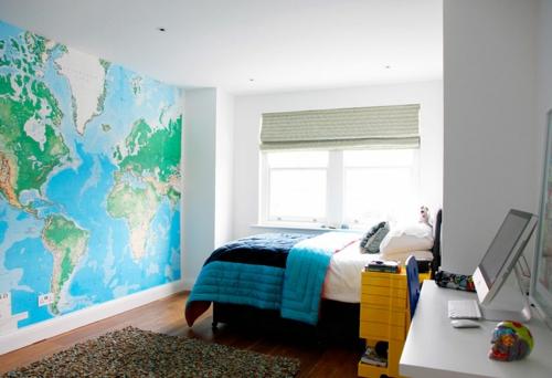 große weltkarte farbgestaltung fürs jugendzimmer wandgestaltung