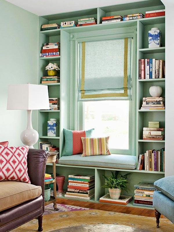 hausbibliothek bücher regale wandgestaltung schöne wandfarben wohnzimmer