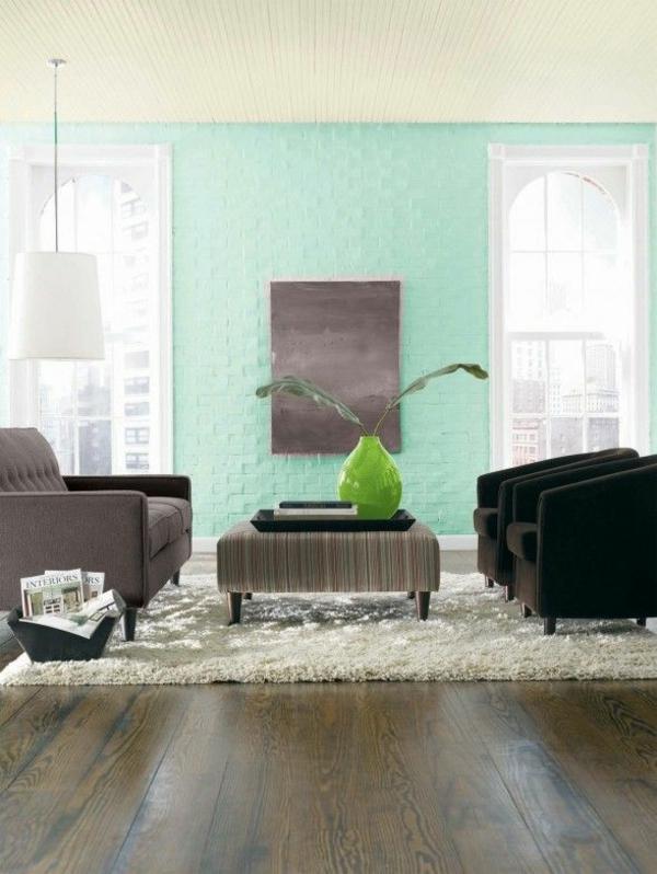 hell mint grün blau wandgestaltung schöne wandfarben wohnzimmer