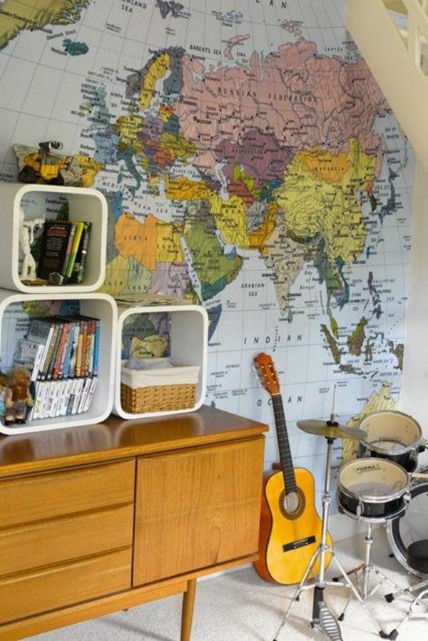 hobby zimmer dekoideen landkarte gitarre