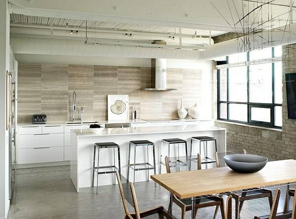 holz farbgestaltung küche esstisch hocker hell ambiente