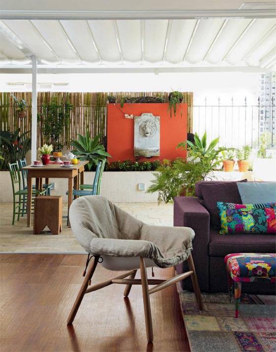 ideen für terrassengestaltung sichtschutz sonnenschutz aus bambus esszimmer pflanzen