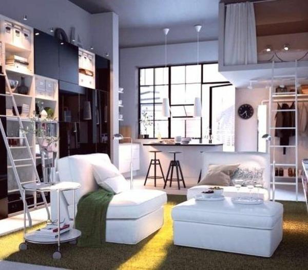 einrichtungideen wohnzimmer treppen weiße sitzecke