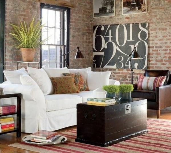 industriell städtisch wohnstil alte truhe schöne wandfarben wohnzimmer