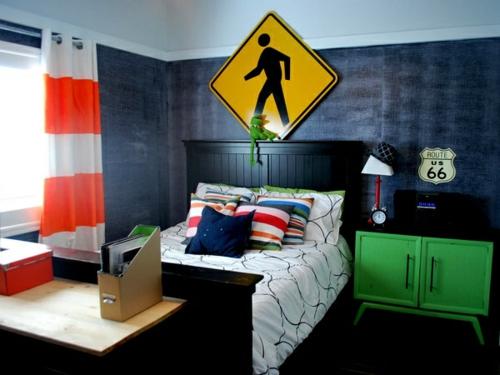 industriell wandgestaltung bett schwarz kopfteil stil jugendzimmer