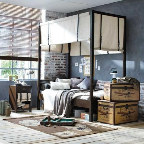 industriell stil ziegel farbgestaltung fürs jugendzimmer himmelbett truhen
