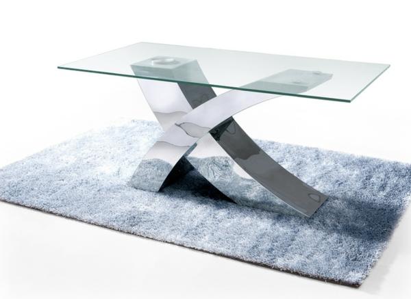 industrieller edelsstahltisch basis unterseite glas platte