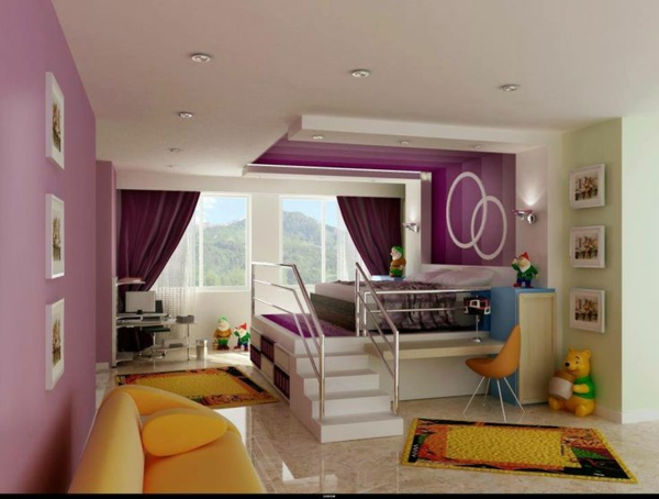 interior design ideen für kinderzimmer hochbett mit treppe sofa