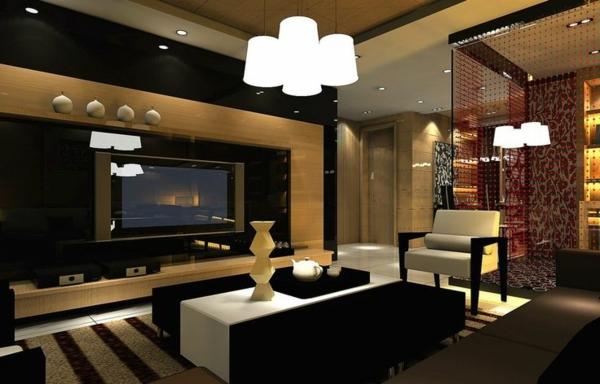 interior designideen schwarzweiße motive pendelleuchten