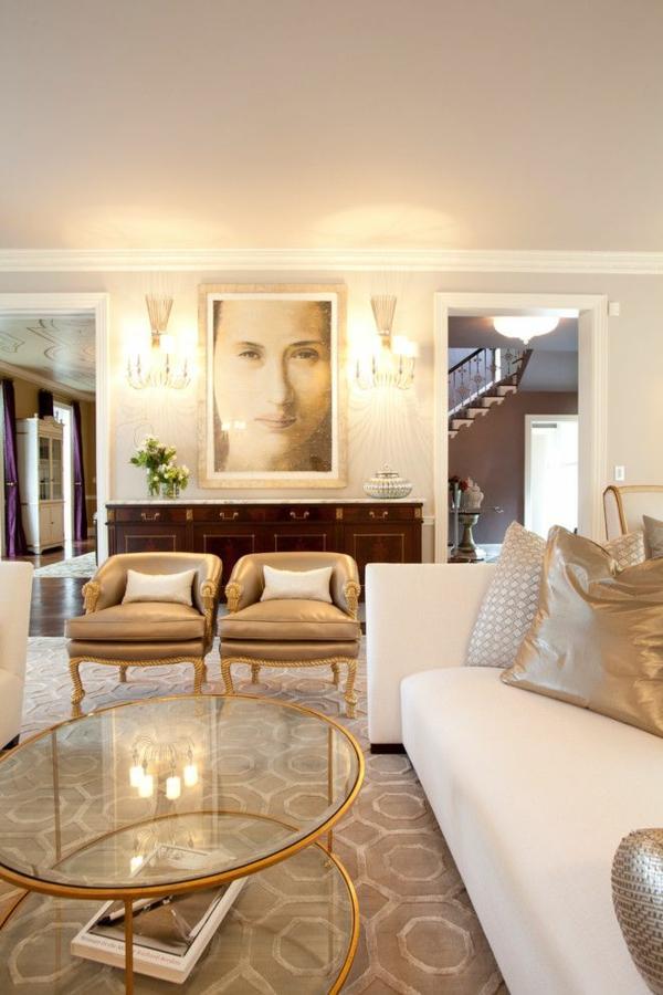 interior entscheidungen wohnzimmer goldene akzente bild an der wand