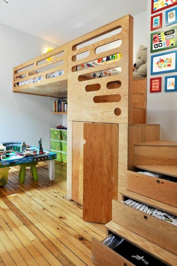 interior ideen für kinderzimmer bett auf zweiter eben treppen