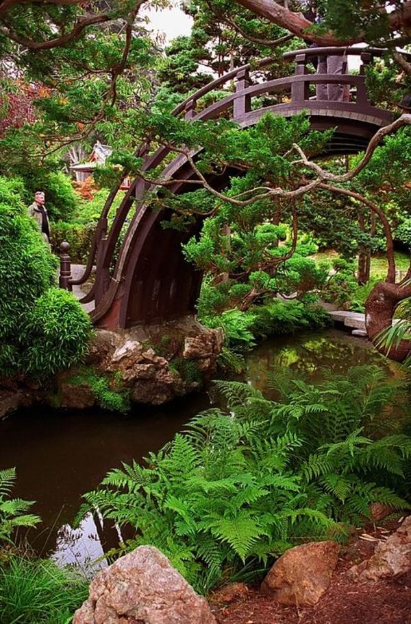 japanische gartengestaltungsideen brücke steine pflanzen