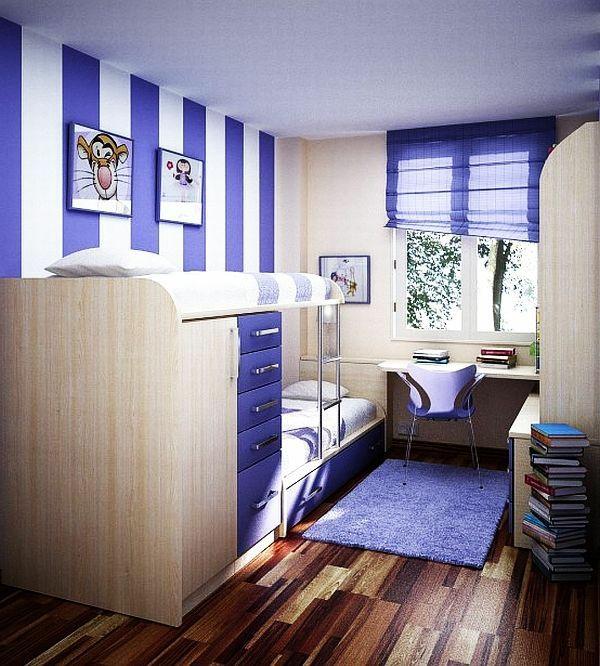 jugendzimmer design ideen gestreift in lila und weiß teppich