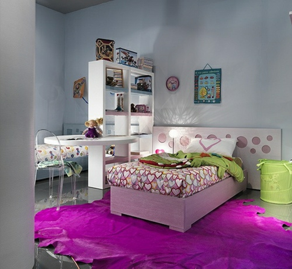 jugendzimmer design ideen lila teppich bett kopfteil schön