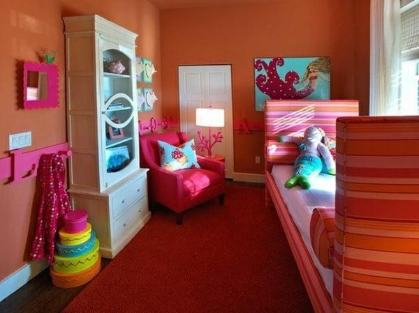jugendzimmer design ideen mit satten farben weißer schrank bett