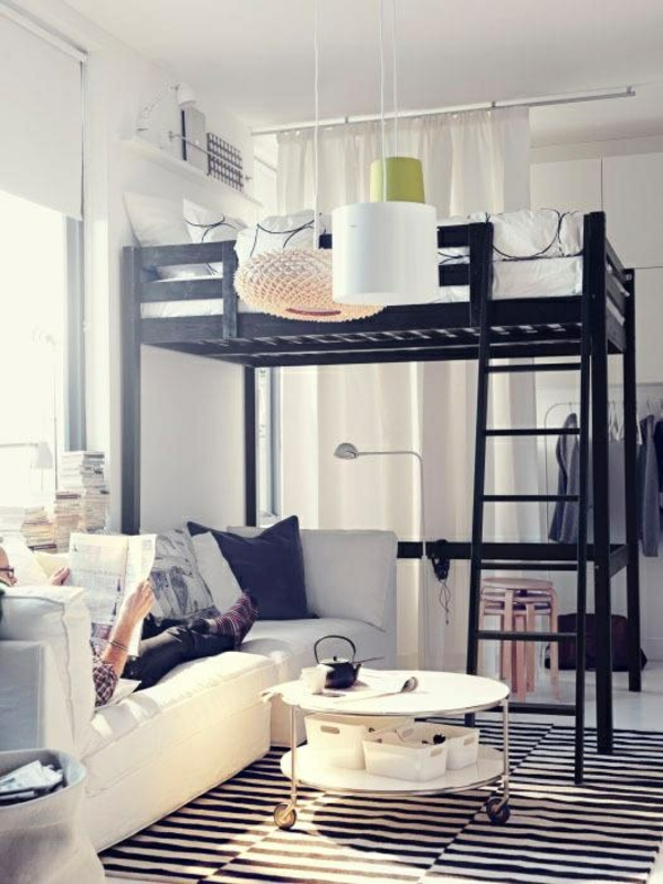 zimmer ausmalen ideen:jugendzimmer design ideen stockbett schwarz gestreifter teppich