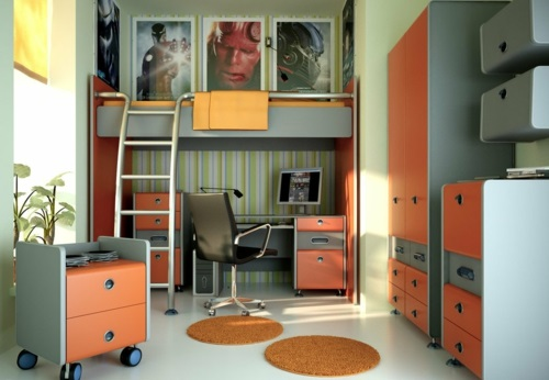 jugendzimmer design orange teppiche grau farbschema