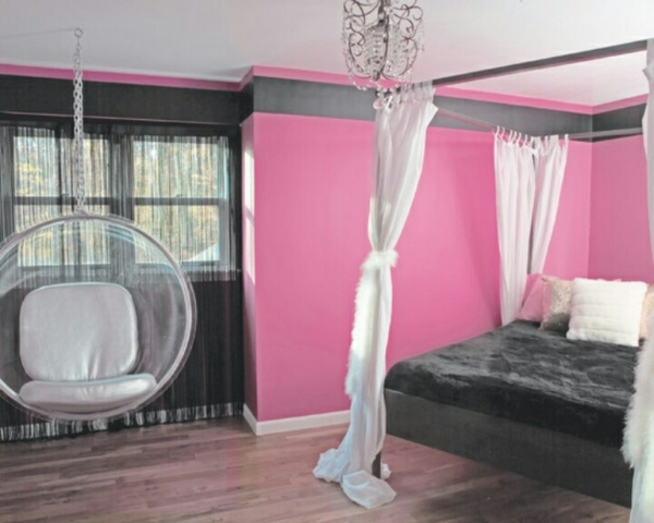 jugendzimmer designideen rosa wandfarbe schwarzes bett