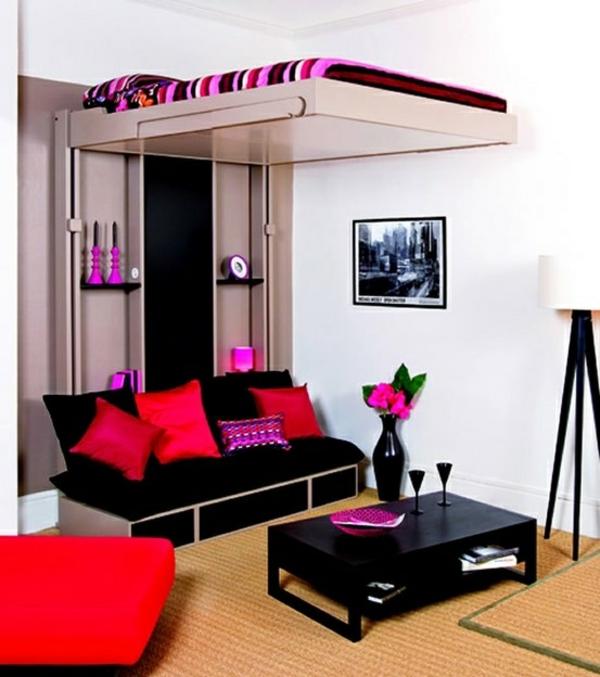 Kleines Jugendzimmer Wie Einrichten : jugendzimmer einrichten bett auf zweiter ebene hoch sofa schwarz rosa