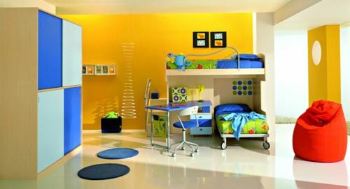 jugendzimmer einrichten ideen bettwäsche wandfarbe gelb neutral sitzsack