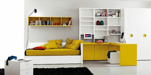 jugendzimmer einrichten ideen bettwäsche wandregale schreibtisch gelb