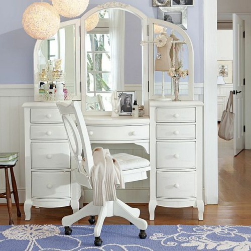 jugendzimmer einrichten ideenn mädchenzimmer schminktisch mit spiegel