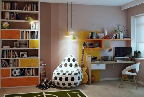 jugendzimmer einrichten ideen sitzsack fußball teppich fußballspiel