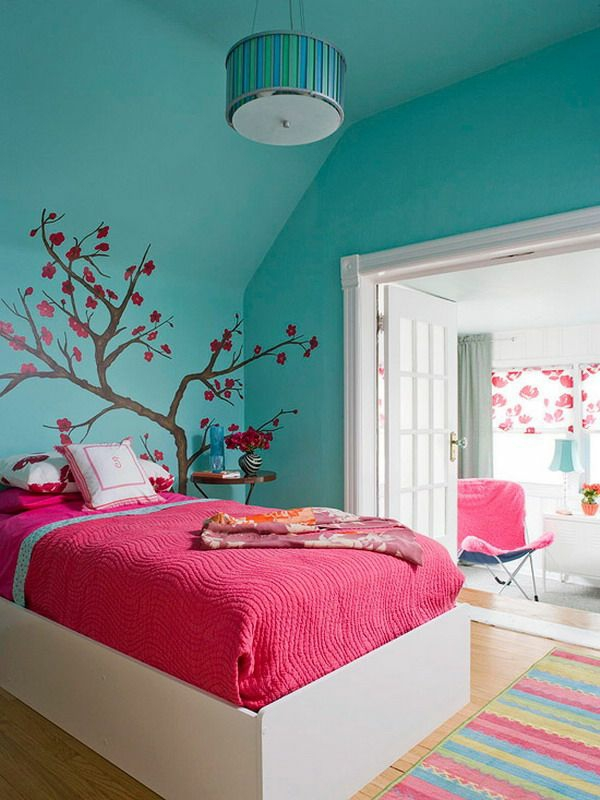 jugendzimmer einrichten rosa bettdecke grüne wand