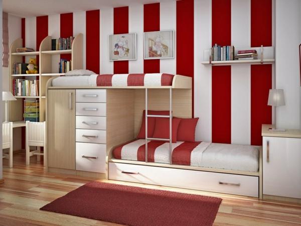 jugendzimmer einrichten stockbett rot und weiß