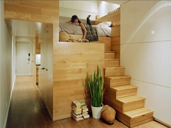 jugendzimmer einrichtungsideen bett auf höher ebene holz treppe