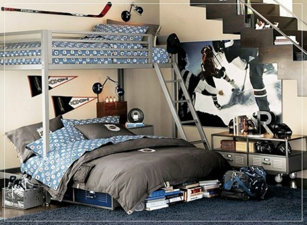 jugendzimmer einrichtungsideen etagenbett grau blau