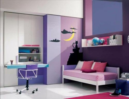 jugendzimmer einrichtungsideen mädchenzimmer in lila und rosa