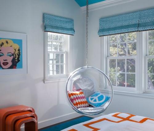 jugendzimmer einrichtungsideen mädchenzimmer pop art minimalistisch schaukel
