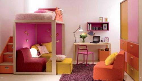 jugendzimmer einrichtungsideen mädchenzimmer praktisch farbenfroh lernecke